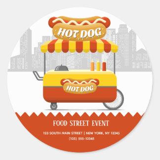 Food street hotdog classic round sticker