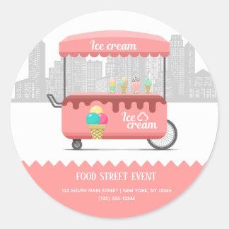 Food street ice cream classic round sticker