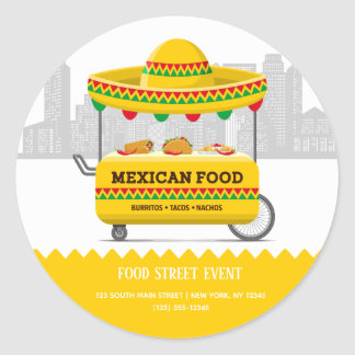 Food street mexican food classic round sticker