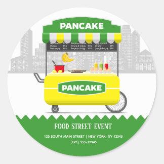 Food street pancake classic round sticker