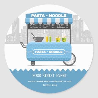 Food street pasta noodle classic round sticker
