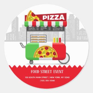 Food street pizza classic round sticker