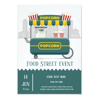 Food street popcorn snack card
