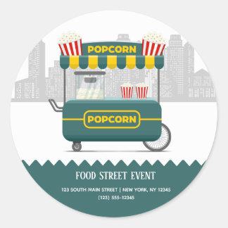 Food street popcorn snack classic round sticker