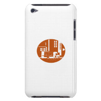 Food Truck City Buildings Oval Woodcut Barely There iPod Cases