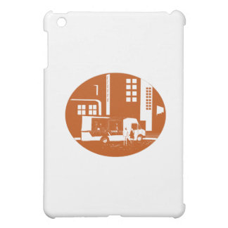 Food Truck City Buildings Oval Woodcut Cover For The iPad Mini