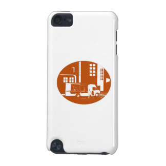 Food Truck City Buildings Oval Woodcut iPod Touch 5G Cover