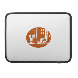 Food Truck City Buildings Oval Woodcut Sleeve For MacBook Pro
