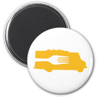 Food Truck: Side/Fork (Yellow) 2 Inch Round Magnet