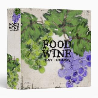 food wine grapes personal cookbook wine journal vinyl binder