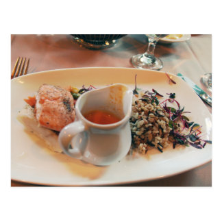 Foodie love - salmon and wild rice postcard