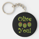 Foodie Olive You Basic Round Button Keychain