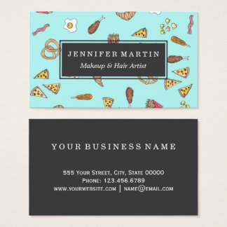 Foodie Watercolor Illustrations Pizza Fries Bacon Business Card