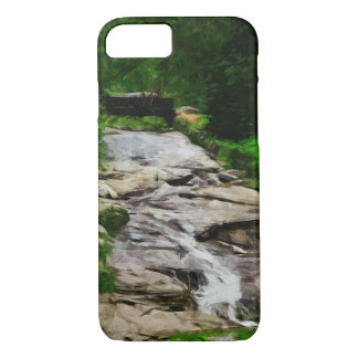 Foot Bridge Over Rocky Stream Waterfalls Abstract iPhone 7 Case