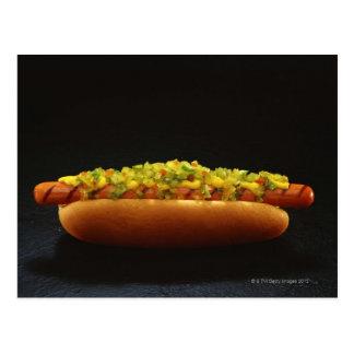 Foot-long hot dog with relish and mustard postcard