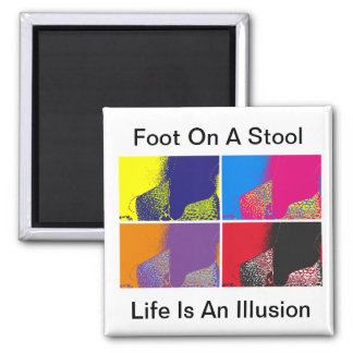 Foot On A Stool Square Magnet