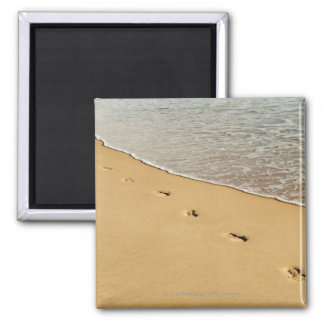 Foot prints in Sand with Wave Square Magnet