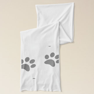 Foot Prints White Jersey Scarf