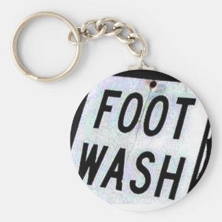 FOOT WASH BASIC ROUND BUTTON KEYCHAIN