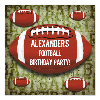 "Football 11th Birthday Party Vintage Green Grunge 5.25"" Square Invitation Card"