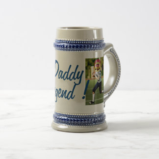 Football American Player - Photo with YOUR & Text- Beer Stein
