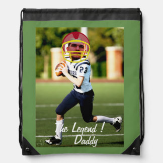 Football American Player - Photo with YOUR & Text- Drawstring Bag