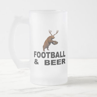 Football And Beer Frosted Glass Beer Mug