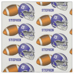 Football and Blue Helmet Number and Name Fabric