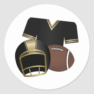 Football and Jersey and Helmet Classic Round Sticker