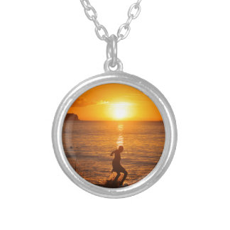 Football at sunset silver plated necklace