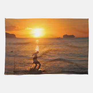 Football at sunset towels
