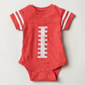 FOOTBALL BABY Red & White   Front Football Design Baby Bodysuit