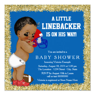 "Football Baby Shower 5.25"" Square Invitation Card"