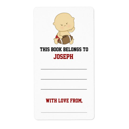 Football Baby Shower Bookplate Shipping Label