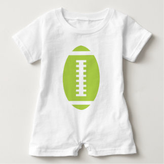 FOOTBALL BABY White | Front Lime Green Football Baby Romper