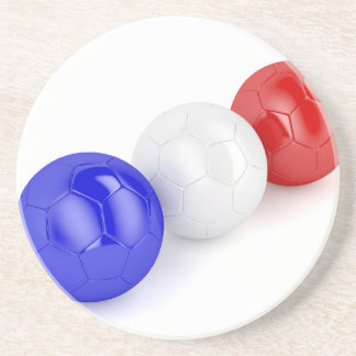 Football balls with flag of France Coaster