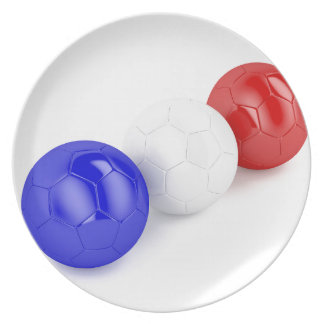 Football balls with flag of France Plate