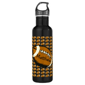 Football Black and Brown Sports Water Bottle