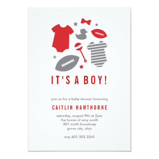 "Football Boy Baby Shower 5"" X 7"" Invitation Card"