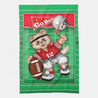 FOOTBALL CAT BOY CUTE Linen with crockery Kitchen Towel