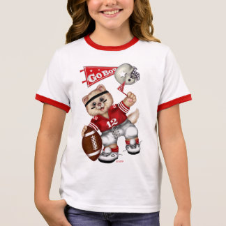 FOOTBALL CAT Girl's Ringer T-Shirt 7