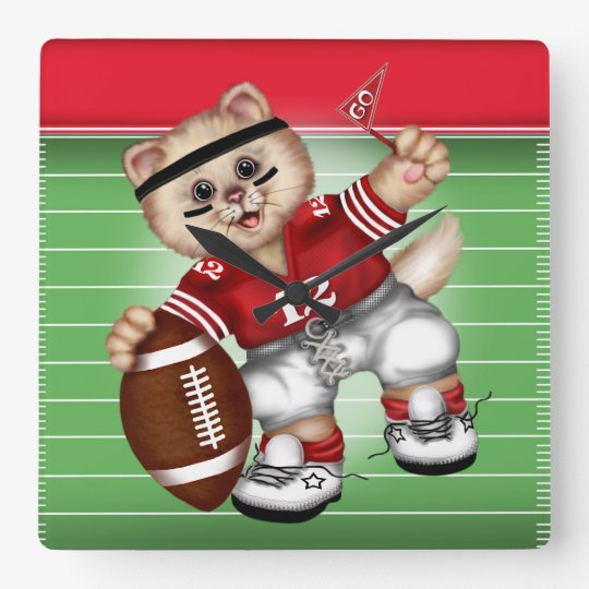 FOOTBALL CAT LARGE SQUARE CLOCK MEDIUM