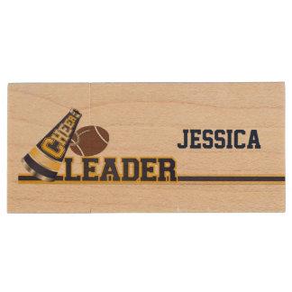 Football Cheerleader Wooden USB Drive