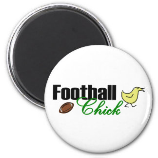 Football Chick 2 Inch Round Magnet