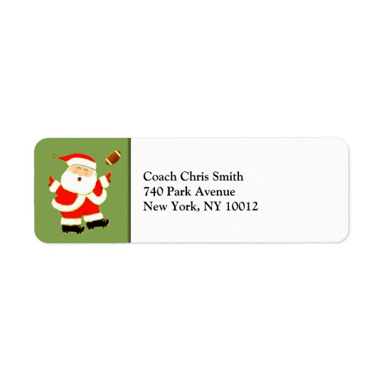 Football Christmas Return Address Label