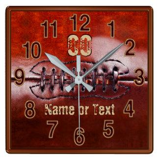 Football Clock, Football Bedroom Ideas Decorating Square Wall Clock