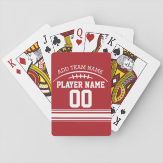 Football Fan with Custom Name and Number Playing Cards