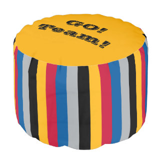 Football Footstool Steel A Touchdown Gold & Black Pouf