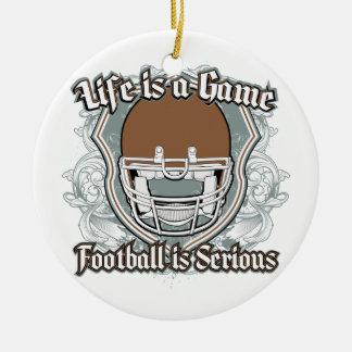 Football Game Brown Ceramic Ornament