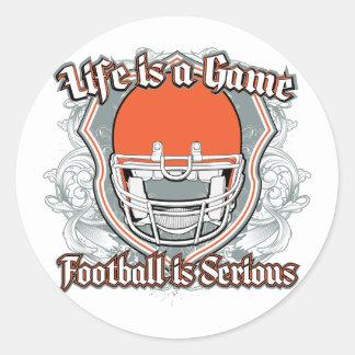 Football Game Orange Classic Round Sticker